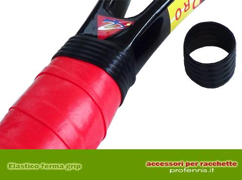 Comodissimo elastico in resistente gomma per fermare l'overgrip quando non si vuole utilizzare l'adesivo.